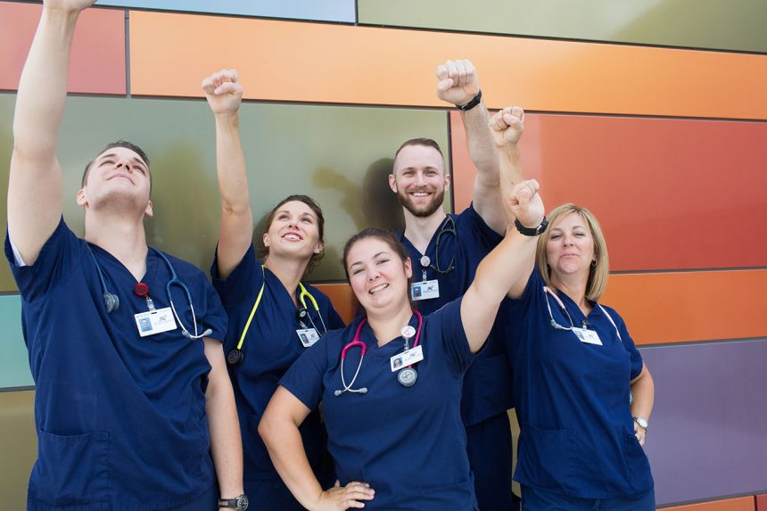 Nursing students celebrating their success